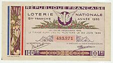 FRANCE Loterie Nationale 1 billet de 100 Francs 1935 / 5ème tranche 30/06/1935