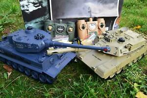 LARGE 2.4GHZ RC BATTLE TWIN TANK RADIO REMOTE CONTROL ABRAMS M1-A2 Vs TIGER-I