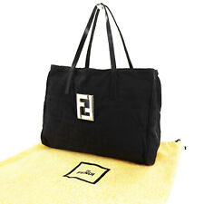 41b087f4767 FENDI Zucca Pattern Tote Hanrd Bag Black Nylon Vintage Italy Authentic #Y73  I