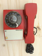 Vintage Red Iskra Rotary Wall Hanging Telephone ETA 31V, Yugolslavian