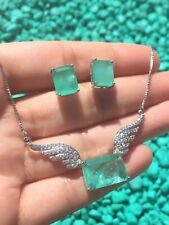 PRINCESS ANGEL WINGS, NATURAL COLOMBIAN EMERALD NECKLACE EARRINGS JEWELRY SET