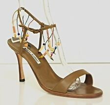 MANOLO BLAHNIK Rutupla Brown Leather Beaded Ankle Strap Sandal High Heel sz 42