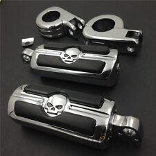 """For Honda VT750 VT1100 VTX1300 1800 Magna 1 1/4"""" Skull Rider Foot Pegs P Clamps"""