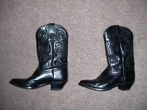 Tony Lama Cowgirl Cowboy Boots Genuine Leather Womens 7-B Black Below Knee