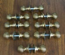 "SOLID BRASS DOOR KNOBS - SET OF 8 PAIRS ""BEEHIVE"" STYLE"