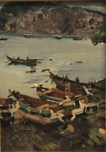 Circa 1940s Japanese impressionist painting signed F Koite All Original Package