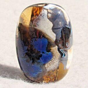 WALLULA Handmade Art Glass Focal Bead Flaming Fools Lampwork Art Glass SRA
