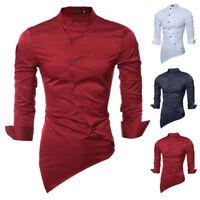 hombre ajustado Camisas manga larga lujo de vestir casual diseñador algodón XXL
