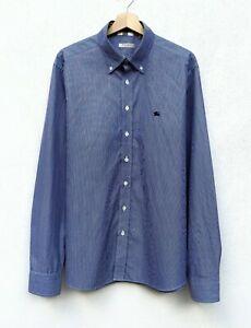 Camicia BURBERRY Uomo XXL Manica Lunga Cotone Chemise Homme Camisa Hombre Blu
