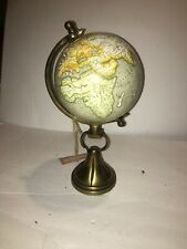 """New Small Table Top Globe On Brass Stand 14"""" Tall"""