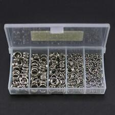 250pcs 5-Size Stainless Steel Fishing Split Rings Double Loop Connectors Tools