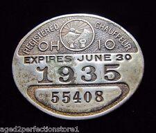 Orig 1934-35 Registered Chauffeur License Ohio taxi cab pinback badge pin