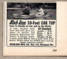 1958 Print Ad Rich Line 10-Foot Car Top Boats Aluminum Richland,MO