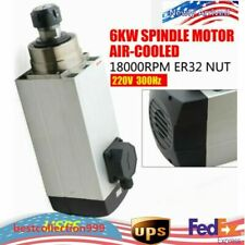 6kw Air Cooled Ac Spindle Motor Er32 18000rpm Woodworking Cnc Router Milling Usa