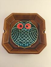 Vintage Ashtray Owl Brown Orange Eyes Square Japan Ceramic