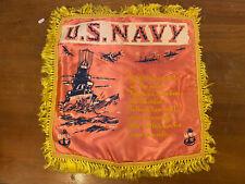 New listing United States Navy Souvenir Pillowcase Vintage Wartime Ww2 Silk