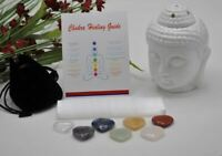 7 Chakra Heart Stones Set With Selenite Charging Plate, Pouch & Chakra Guide