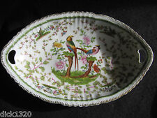 "BEAUTIFUL ART DECO FRENCH EDME SAMSON 'EXOTIC BIRD' 12"" OVAL BOWL c.1920's"
