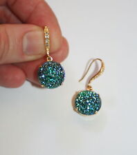 Vintage 1940s big Emerald Green ab sugar glass designer Gold gatsby earrings