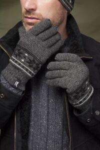 New Mens Heat Holders Fairisle Jaquard Thermal Winter Gloves, Black, Navy, Grey