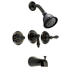 Designers Impressions Oil Rubbed Bronze 3 Handles Tub/Shower Combo Faucet 654678