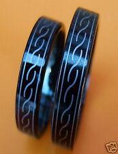 2 WOLFRAM/CARBIDE PARTNER RINGE-  BLACK - CELTIC -TITANHART 30#