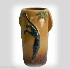 Roseville art pottery vase - Wincraft line, with black panther design - ca 1948