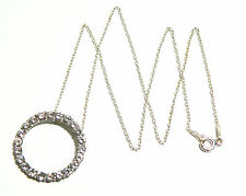 """Sterling Silver Circle Clear CZ Crystal Hidden Bale Pendant w/ 16"""" Petite Chain"""