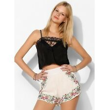 Pins And Needles UO High Waisted White Mexician Embroidered Gauze Shorts SMALL