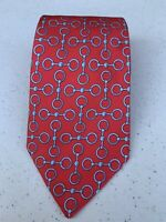 """HERMES PARIS 614 SA """"Made in France"""" Red with Blue Links 100% Silk Tie"""