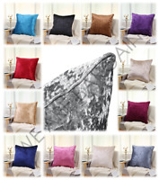 Crushed Velvet Cushion COVERS Piped Edges Luxury Plain Soft 18''  24'' Cover