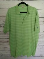 Peter Millar Men's Key Lime Stripe Cotton Polo Golf Shirt XXL / 2XL EUC