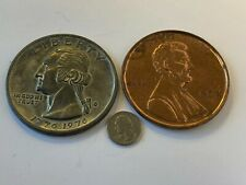 "2 Paper Weights -3"" 1976 Bicentennial Quarter Dollar -1972 Penny"