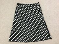 Tabloid skirt size 13 14 black white polka dot stretch waist A line below knee
