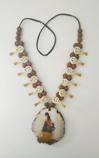 1970s De Grazia Hand Painted & Etched Leather Strap Necklace