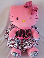 "Build a Bear Hello Kitty Plush Pink Leopard Matching Dress Large 19"" Winking"
