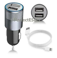 Car Vehicle Charger Adapter+ USB Cable 2.3A Dual Port For iPhone 6 6S Plus Black