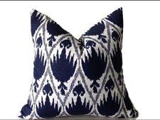 Blue Ikat Pillow Cover Indigo 18x18 Accent Decorative Cushion