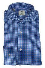 NWOT Luigi Borrelli 100% Cotton Shirt 15,75/40 Deep Sky Blue/Blue/White Checks