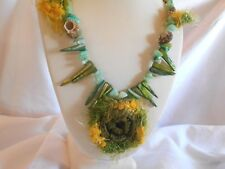 NEW UNIQUE BLUE GREEN BEADS, SHELLS, CROCHET 23 INCH NECKLACE.... .. NICE