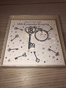 Stunning Silver Plated 18th Birthday Keepsake Keyring boxed Equilibrium