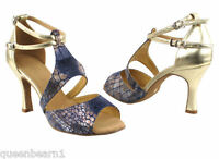 Women/'s Dark Tan Salsa Ballroom Dance Shoes Heel 2.5 and 3 Very Fine SERA6006