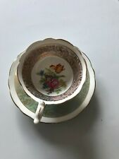 Vintage Royal Stafford bone china cup and saucer green/pink and gold trim