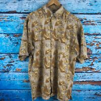 Enro Men's Shirt Sleeve 100% Silk Shirt Medium Tan Yellow Black