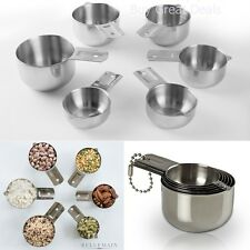 Bellemain Silver Stainless Steel Kitchen Measuring Tool Grip Cup Set 6 Piece NEW