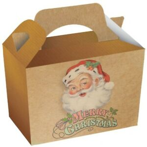 10 x Traditional Xmas Treat Boxes Christmas Cakes Party Craft Supplies
