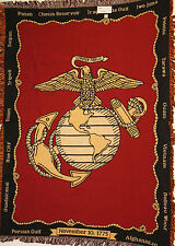 MARINE CORPS US Military 3-Layer Afghan Throw Blanket - Marines