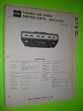 Toshiba ct-800d service manual original repair book stereo 8 track tape player