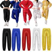 Unisex Kids Boys Girls Sequins Dance Pants Hip-hop Jazz Trousers Show Costume