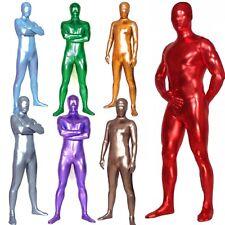 Men's Shiny Metallic Zentai Full Bodysuit Wetlook Spandex Unitard Party Costume